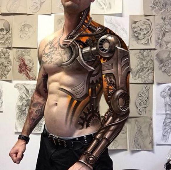 Биомеханика ontattoo робот плечо тату