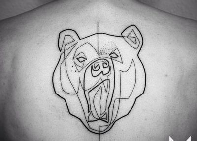 Тату лайнворк медведь