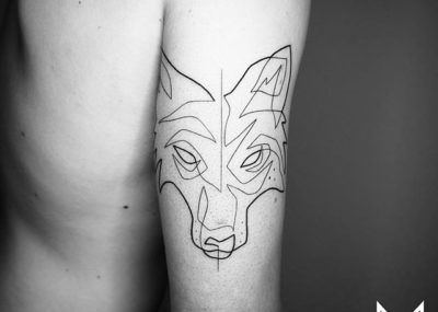 Тату лайнворк волк