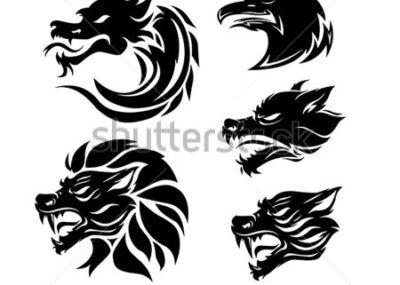 Трайбл эскизы дракон и лев
