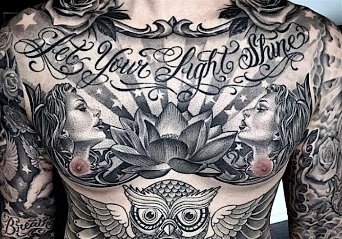 Фото: Идеи татуировок на грудине красивые татухи