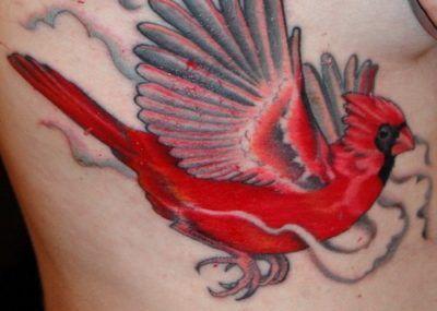 красное тату птица