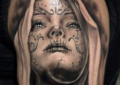 тату череп лицо девушки