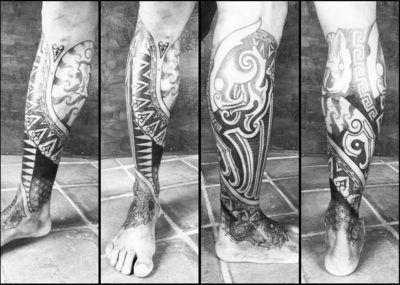 тату викингов на ногу