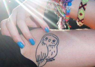 сова тату на плече женское