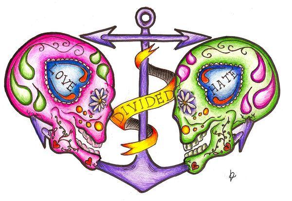 tattoo calavera череп тату любовь