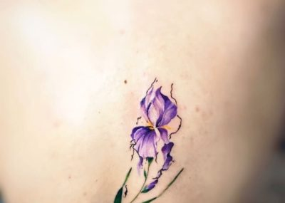 тату акварель на спине цветок