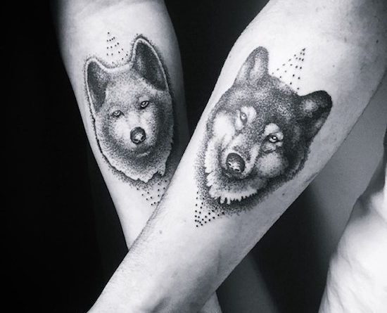 Тату с волком на руке-tattoo