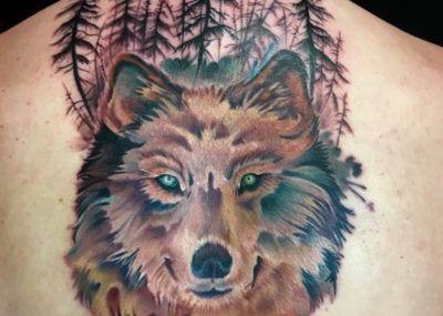 тату волк лес на спине