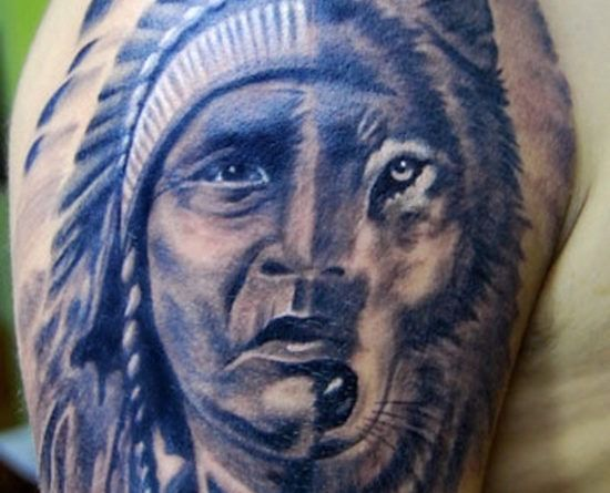 Тату индеец с волком