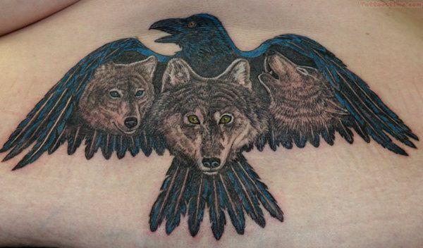 Значение татуировки ворон. Символика тату 31