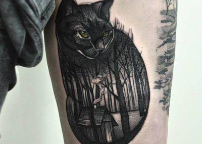 тату чеширский кот и лес