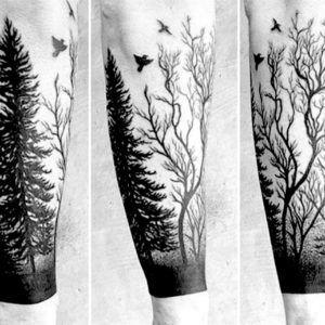 Деревья и лес. Татуировки на руке (60 фото)