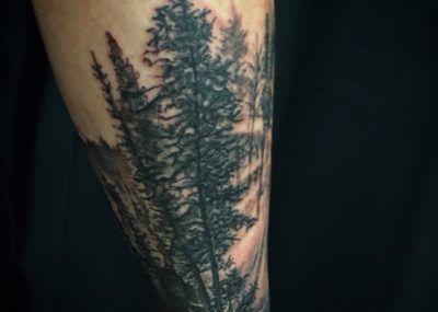 тату с черным лесом