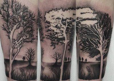 тату с деревьями в лесу