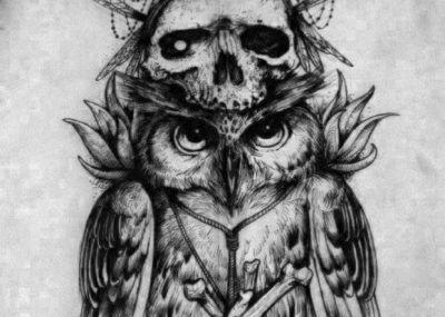 эскизы тату сова и череп