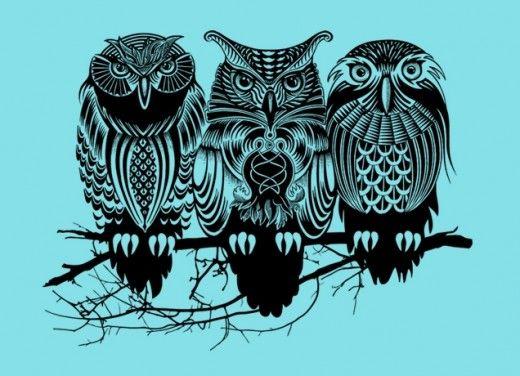три совы эскиз тату