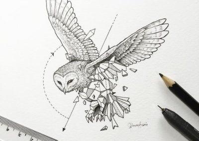 эскизы тату сова лайнворк