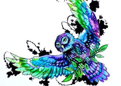 эскизы тату сова синяя
