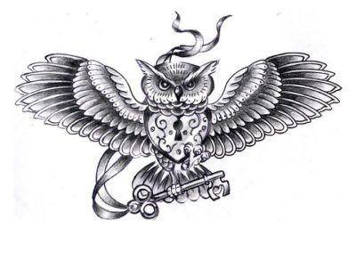эскизы тату сова с ключом