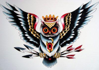 эскизы тату сова с короной