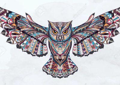 эскизы тату сова цветная