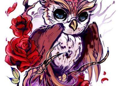 эскизы тату сова с розами