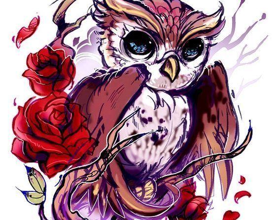 сова с розами