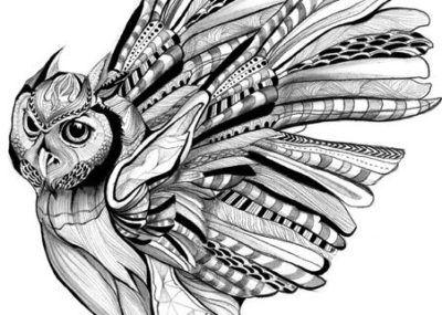 эскизы тату сова перья