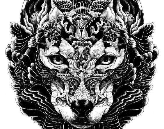 эскизы тату волк