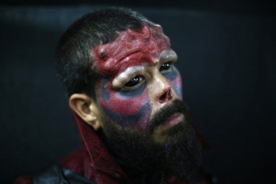 Extreme Body Modifications Red Skull