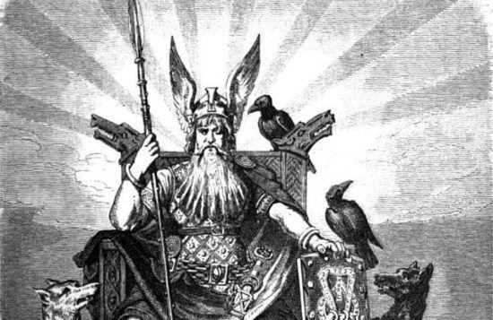 Бог Один с Воронами на троне