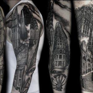 Архитектура в татуировке: дома, мосты и замки (55 фото)