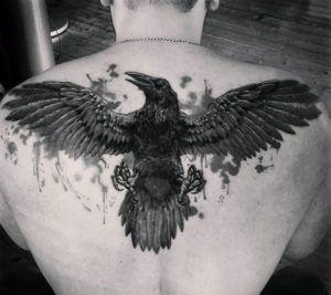 тату ворон на спине