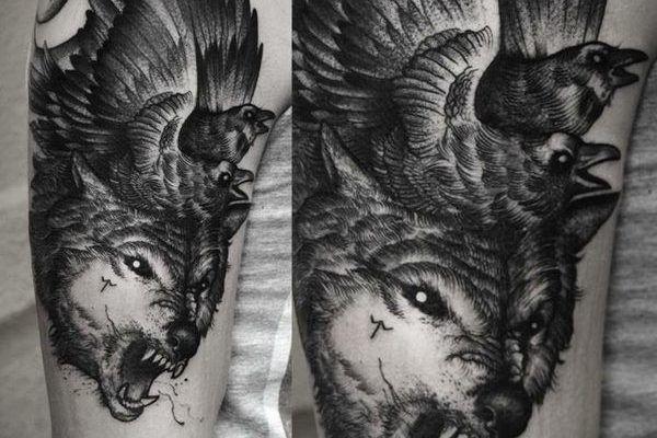 Значение татуировки ворон. Символика тату 35