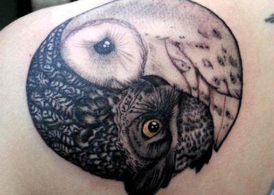 татуировки инь янь сова