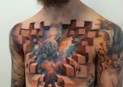 Тату космоса на груди