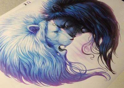 парные тату лев и львица