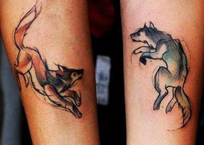 парные тату лиса и волк