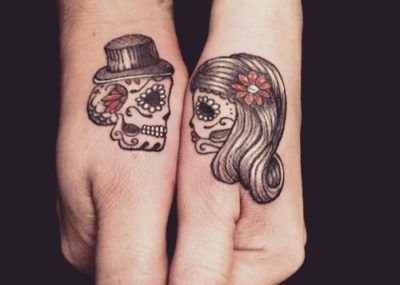 парные тату черепа
