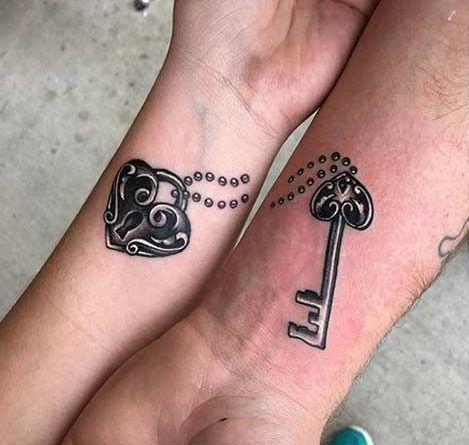 парные тату замок и ключ