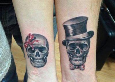 парные тату череп