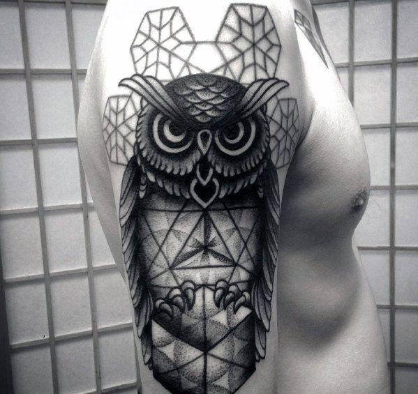 Barn owl arm tattoos