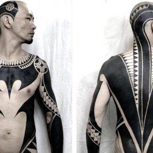 Трайбл + блэкворк. Крутые работы тату-мастера Taku Oshima