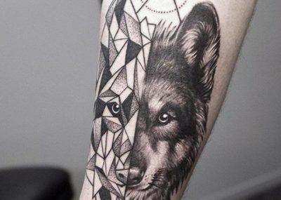 волк геометрический тату