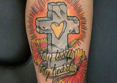 тату крест могильный