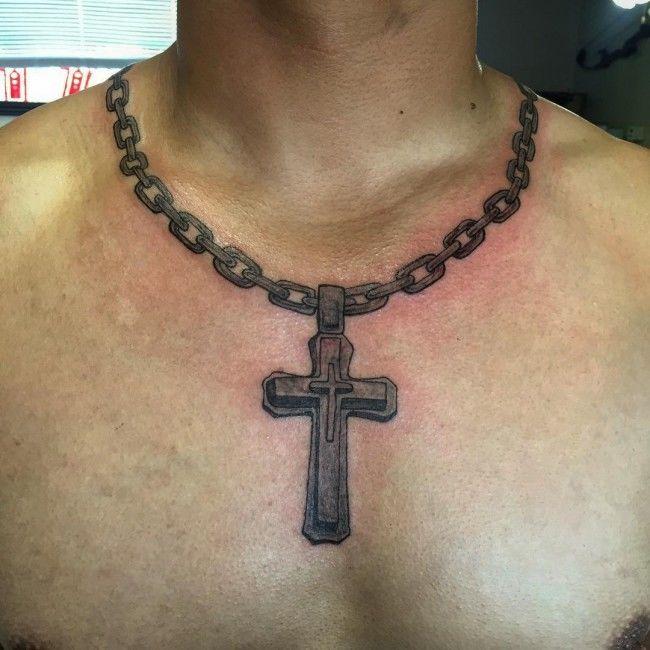 фото тату крест с цепью на шее вариации