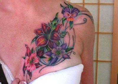 тату с лилиями на груди