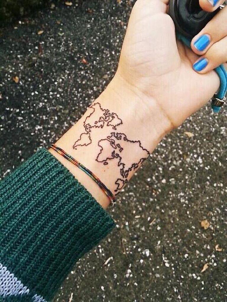 small tattoo globe