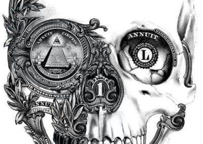эскизы тату череп масоны